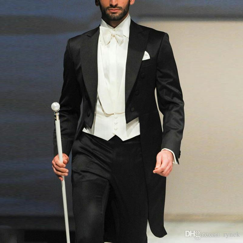 Custom Made Nero Tailcoat Uomo Abiti da sposo Smoking da sposa Wear Morning Party 3 pezzi Ultimo Cappotto Costume da disegno Homme Terno Masculino