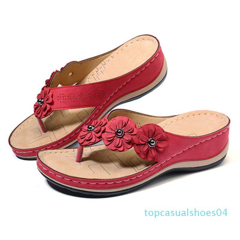 Women's Flower Sandals 2020 Summer Wedge Slippers Shoes Women Vintage Flip Flops Female Ladies Woman Sandals Lady Casual Slides t04