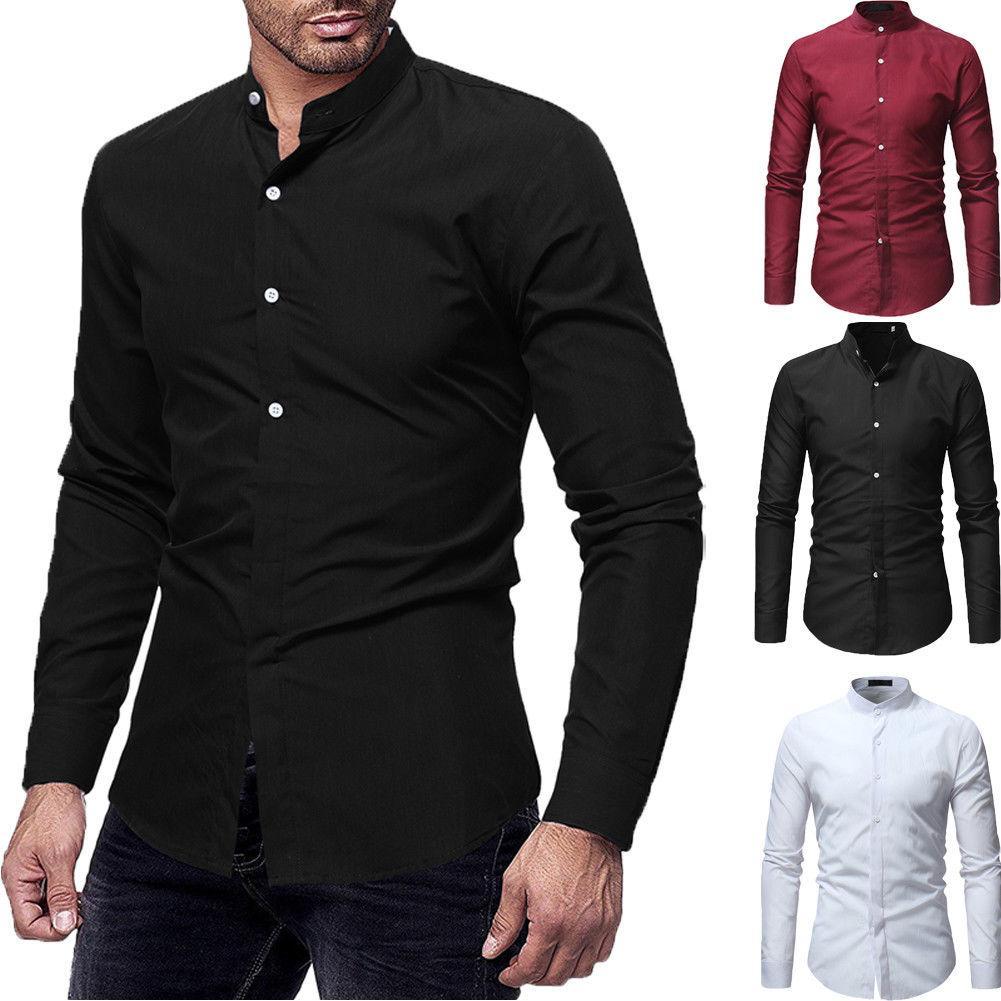 Luxury Fashion Men Slim Fit Shirt Long Sleeve Dress Shirts Casual Shirt Top LOT