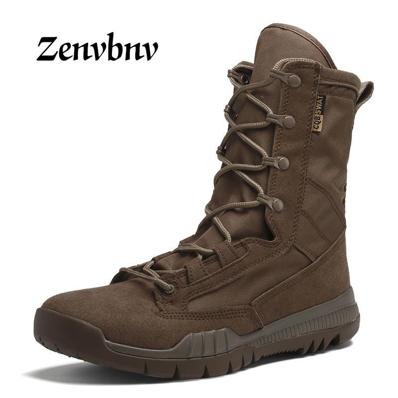 الربيع / الخريف الرجال العسكرية التمهيد الأسود تنفس قماش فائقة ضوء الصحراء أحذية الرجال القتالية الكاحل الجيش التكتيكي الأحذية