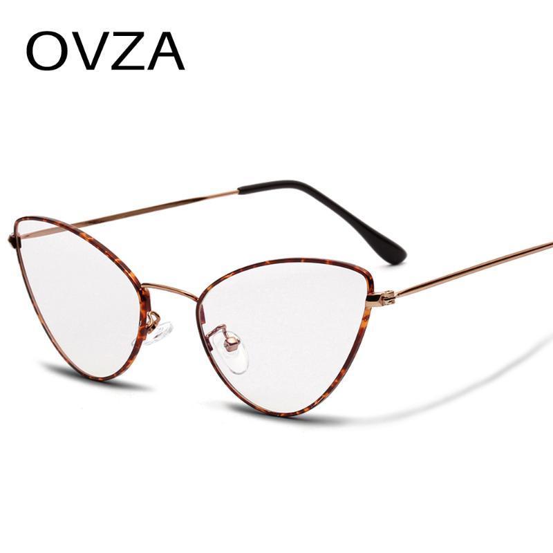 OVZA Vintage Cat Eye Glasses Frame Women Delicate Thin Frame Retro Metal Spectacles Female Narrow Eyeglasses S8061