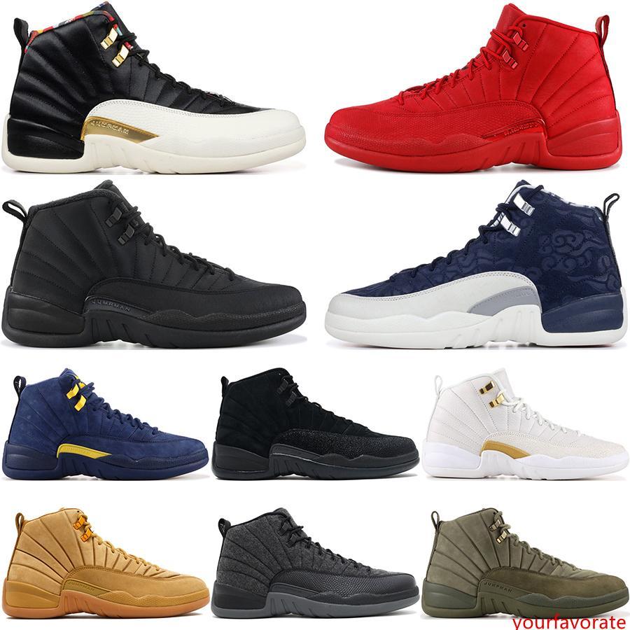 12 CNY OVO lana zapatillas de gimnasia Rojo Gris oscuro Juego de la gripe El Maestro Gamma azul francés 12S zapatillas de baloncesto de los hombres de Estados Unidos 7-13