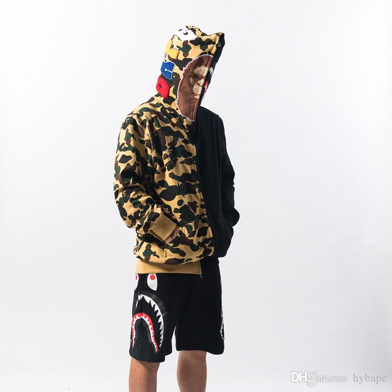 2019 타이드 브랜드 남성 자수 대형 느슨한 카디건 지퍼 카모 노란색 스티치 블랙 후드 자켓