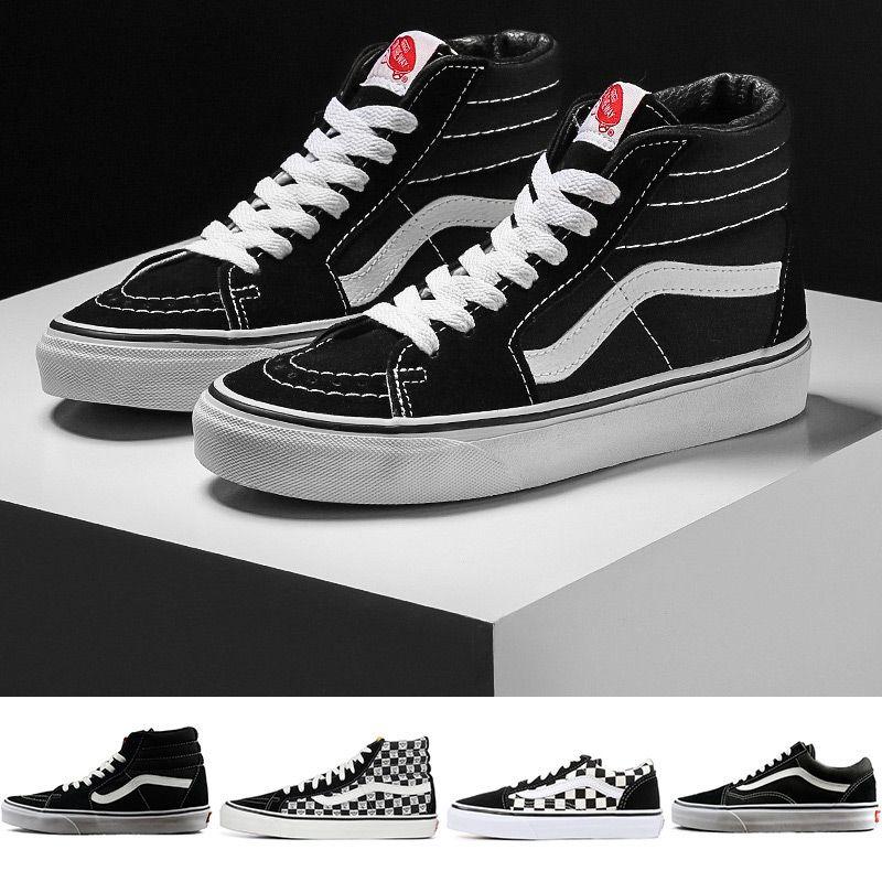 2019 NUEVO Diseñador para hombre SK8-Hi Classic Old Skool Blanco Negro zapatillas de deporte Mujeres Hombres Zapatillas de skate ocasionales de lona alta y baja