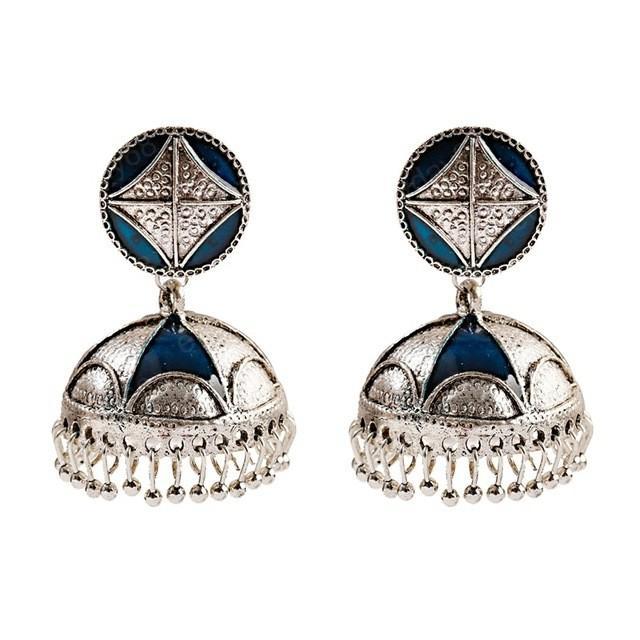 Perline nappa indiana di modo delle donne Jhumka Orecchini etnici d'argento di colore geometrica Bollywood ossidato ciondola gli orecchini