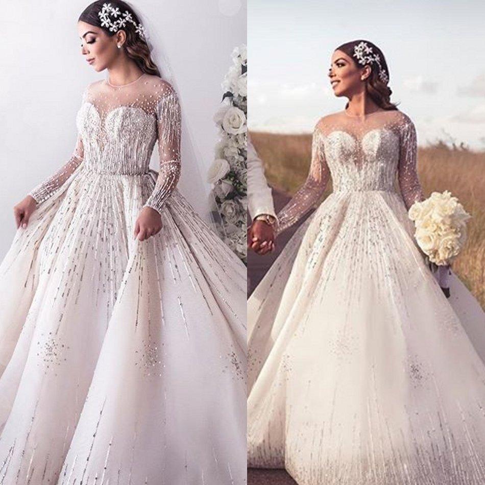2020 бальное платье свадебные платья горный хрусталь аппликация жемчуг жемчуг драгоценные платье жениковые платья подметают тарин длинные рукава Vestidos de Novia