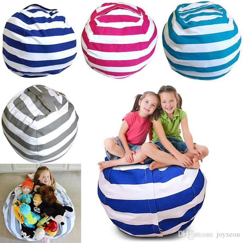 Newest Storage Bean Bags Kids Plush Toys Beanbag Chair Bedroom Stuffed Animal Room Mats Portable Clothes Storage Bag 4 Colors FA2156
