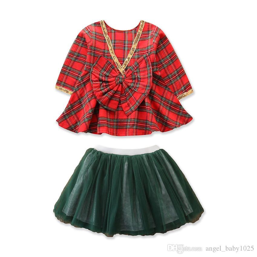 da Primavera e Outono New as crianças usam meninas Plaid bonito manga comprida com decote em V Grande Bow Top + saia de malha Set