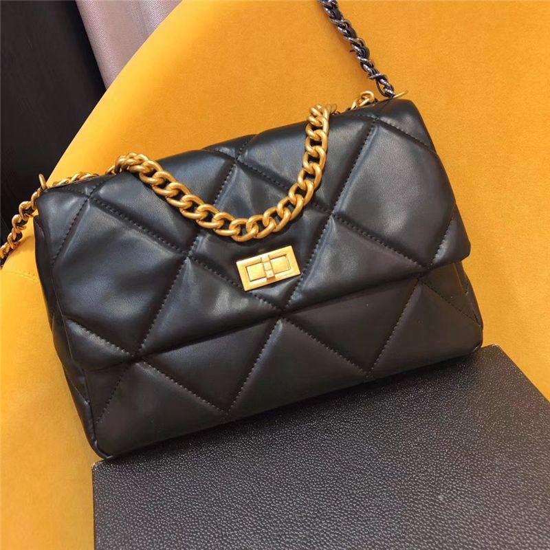 Designer Luxus-Tasche und weise echte Schafsleder Schulter schöne Kette diagonale Taschen Damen Handtasche Geldbörsen klassischer Stil