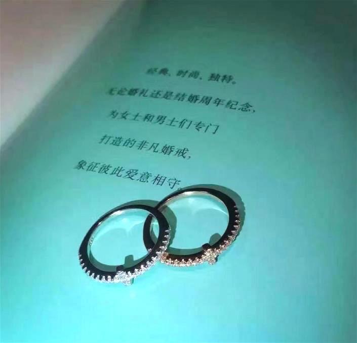 marca Manera- Anillo de compromiso para los hombres y las mujeres los anillos de boda de plata de ley 925 regalos de letras accesorios de la joyería de lujo anillo