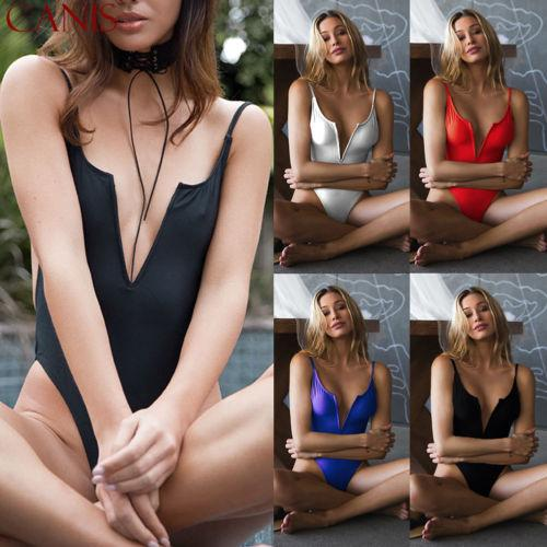 2019 New Fashion Womens Sexy V-neck Swimsuit Push Up Bikini Swimwear Bathing One Piece Monokini