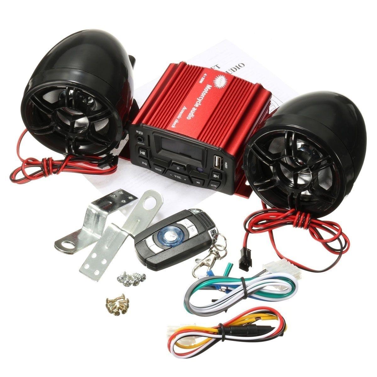 12V 4x25W سيارة دراجة نارية دراجة نارية MP3 FM مشغل الصوت نظام راديو مكبر للصوت ستيريو 2X رئيس اللاسلكي عن بعد (اللون: أسود، أحمر)