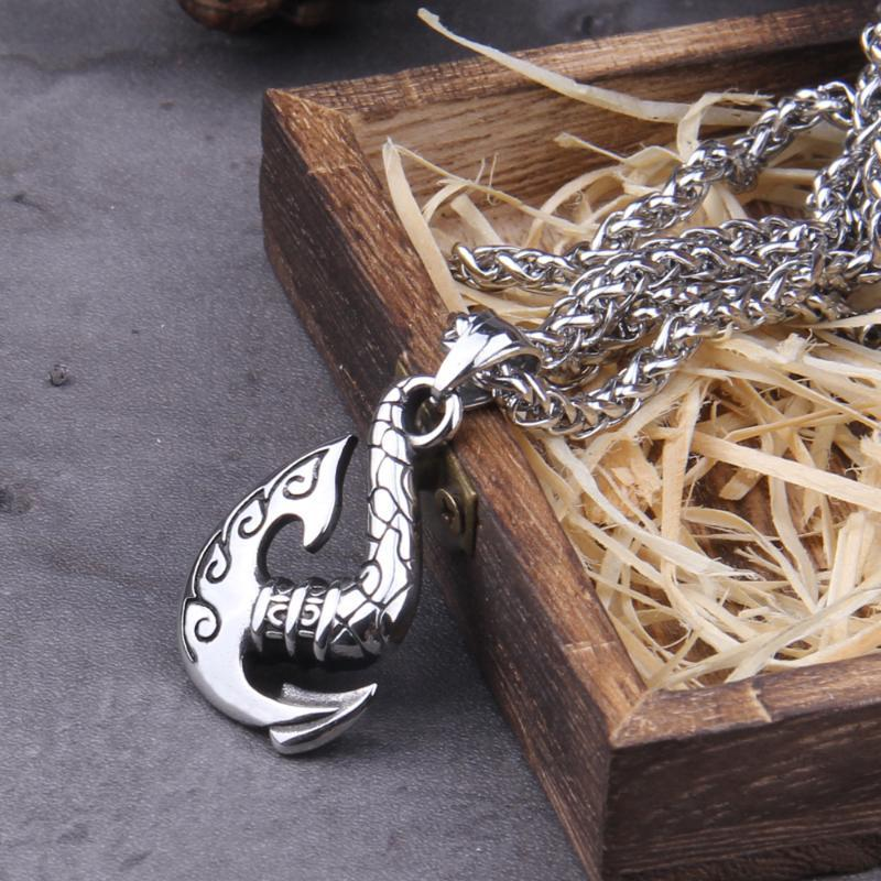 Stainless Steel Nordic Axe pendant necklace with viking wooden box as gift