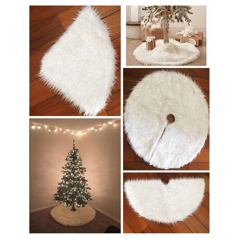 Decoración de Navidad blanco felpa árbol de la piel de la alfombra Feliz Natal Inicio Árbol Faldas Decoración de Año Nuevo