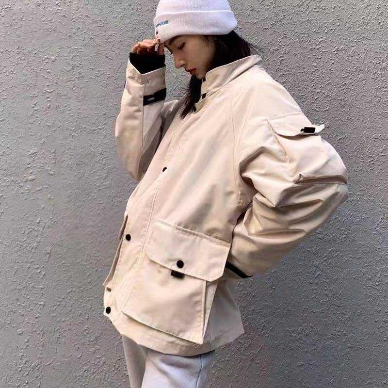 2019 New Hot Inverno Designer Mens mulher Marca Brasão Jackets Windbreaker ficar função colarinho trabalho cáqui preto rosa Casual Brasão B101437Q M-XL