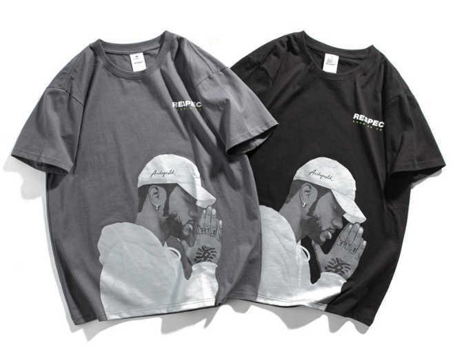 Em torno do pescoço de manga curta americano Rua preta dos homens verão T dos homens Imprimir T-shirt Tendência