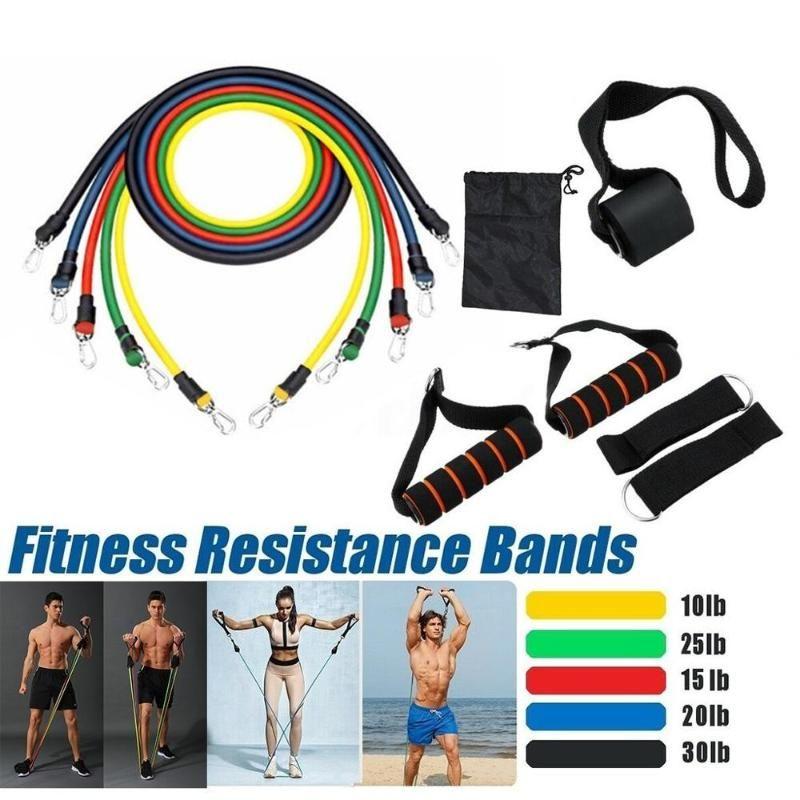 11pcs / set Pull corde Fitness Exercices Entraînement Les bandes de résistance Workout Yoga Gymnases tube en caoutchouc boucle tirer la corde