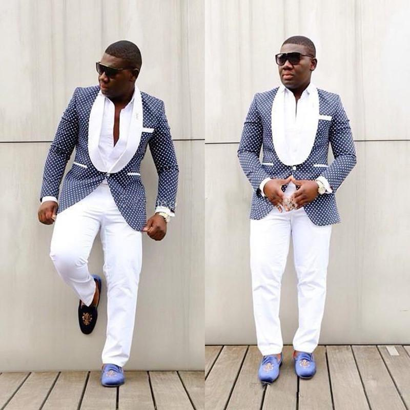 Nuovo design classico One Button Royal Blue Polka Dot Smoking dello sposo Groomsmen Scialle Risvolto Best Man Suit Mens Abiti da sposa (Jacket + Pants + Tie) 1