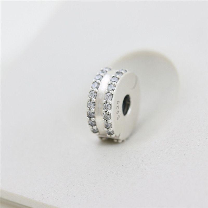 100% 925 Sterling Silver Duplo Forrado Clipe Pave Bead charme único europeu Pandora charme jóias Colar Pulseiras