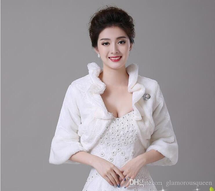Winter warm wool collar cotton padded jacket, bridal hair Cape Wedding dress etiquette cheongsam accessories, red and 3 4 sleeve coat