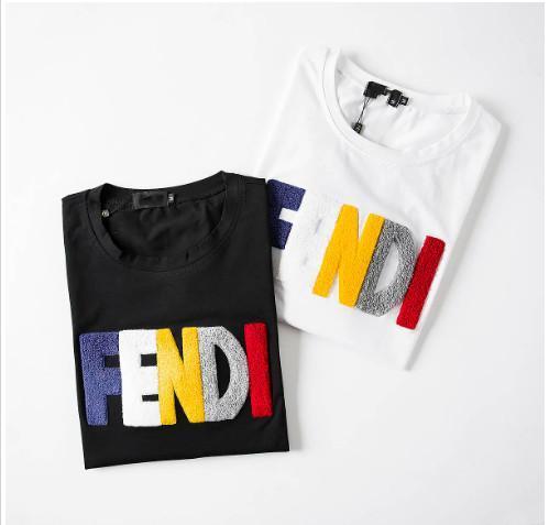 Luxo europeu manga curta Logo Bordado Abelha do T da forma Homens e mulheres casal alta qualidade t-shirts Designer