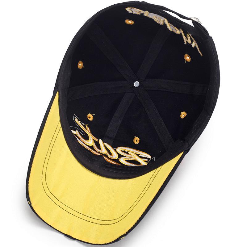 2019 New Vintage cassé BAT Lettre Trou Cap Casual Casquettes de base-ball extérieur pour homme femme Snapback Casquettes Chapeau de soleil Os Garros
