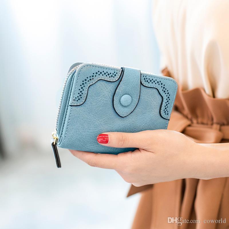 إمرأة بو الجلود محفظة قصيرة مخلب بطاقة حامل فتاة لطيف مصغرة محافظ تصميم عملة محفظة شرابة حقيبة يد