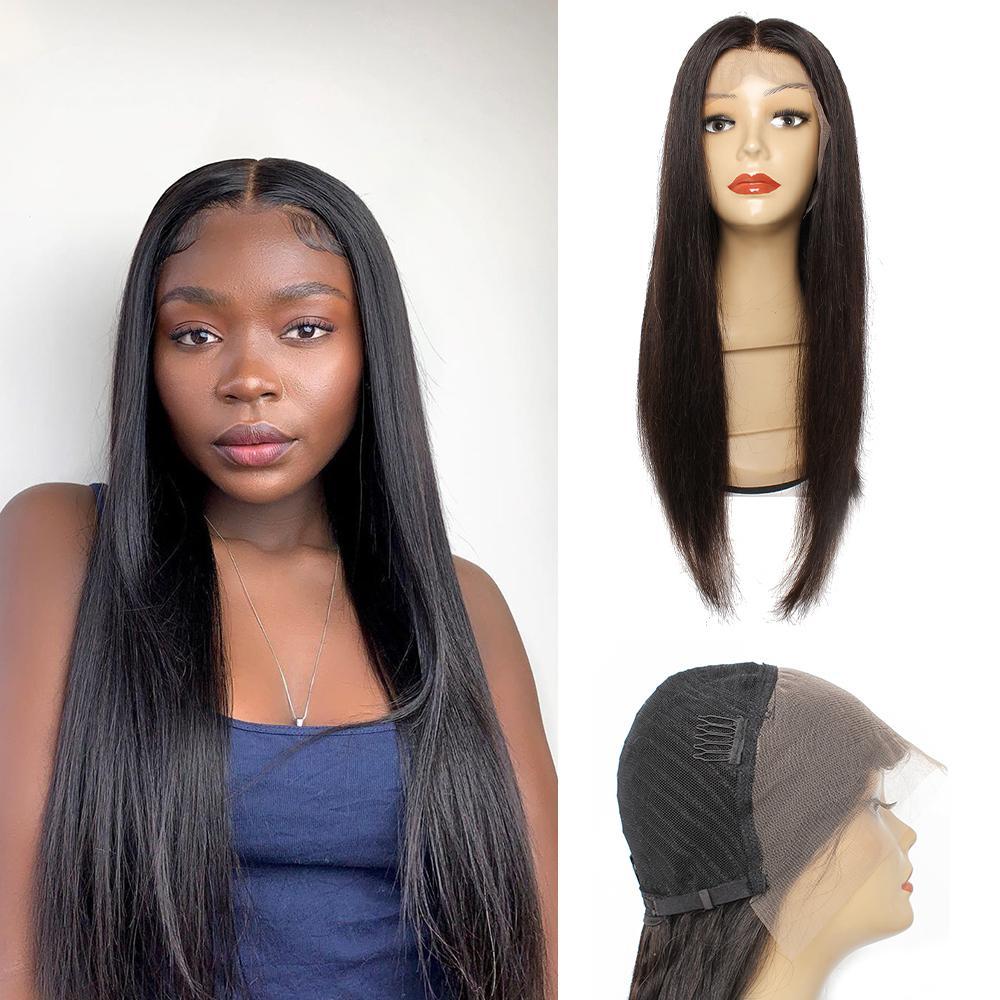 KISSHAIR 13x4 الرباط الأمامي شعر مستعار اللون الطبيعي الإنسان الشعر مستقيم شعر مستعار مسبقا، التقطه أمام البرازيلي الرباط الباروكات