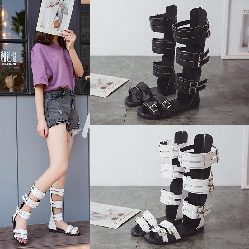 Overseas2019 Canister Long Hasp Sandals Posimi Second Rome Style High Help Donna Stivali freddi Scarpe da donna