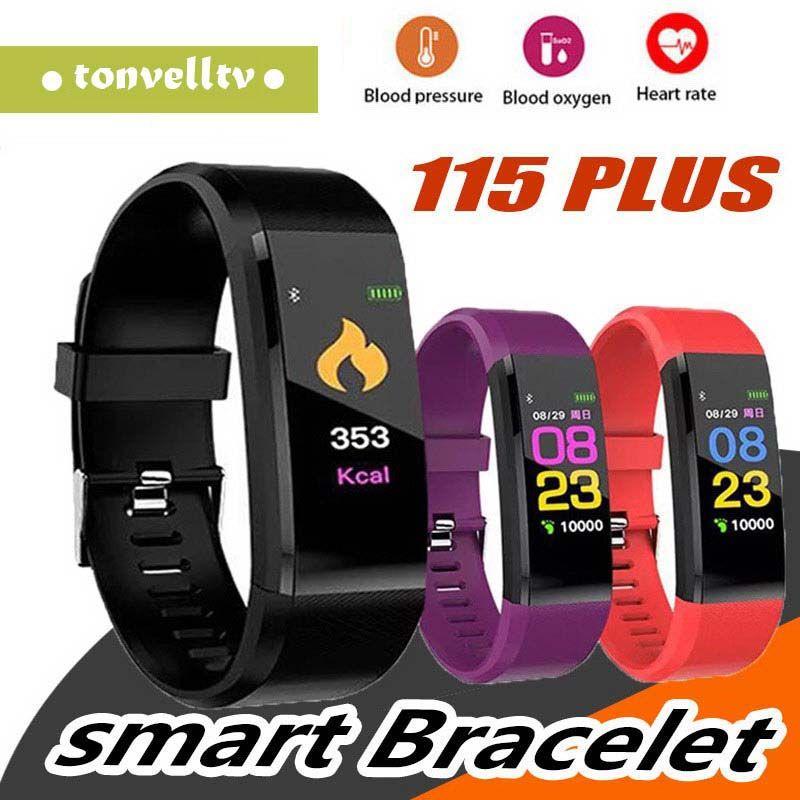 ID115 PLUS Tela Colorida Inteligente Pulseira Esportes Pedômetro Relógio de Fitness Correndo Andando Rastreador Pedômetro Freqüência Cardíaca Pedômetro Inteligente Banda