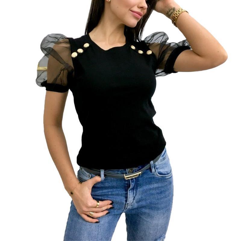 Pulsante Donne metallo Casual Decorazioni camicetta signore di prospettiva estate sexy della maglia manica corta Slim Top Camicie