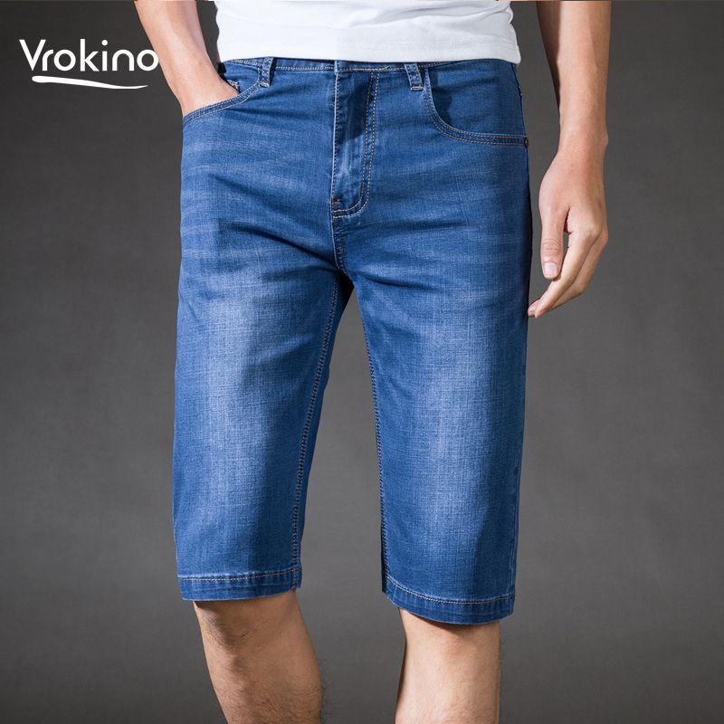 VROKINO 2019 Nuovi uomini estivi nuovi pantaloncini di jeans stretch da uomo Business Leisure Fashion Classic Pantaloncini diritti Jeans 36 38 40