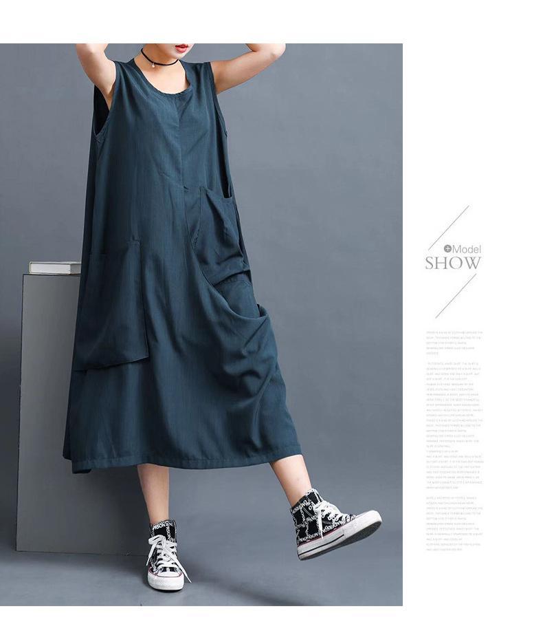 Новое большое женское платье 2020 весна без рукавов жирное платье красоты оригинальное искусство свободная юбка в европейском и американском стиле