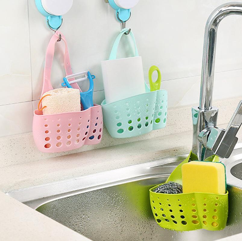 Esponja de la cocina Organizador plástico esponja de almacenamiento en rack cesta de tela lavada baño estante sostenedor del jabón de drenaje Organizador de almacenamiento en rack Y339