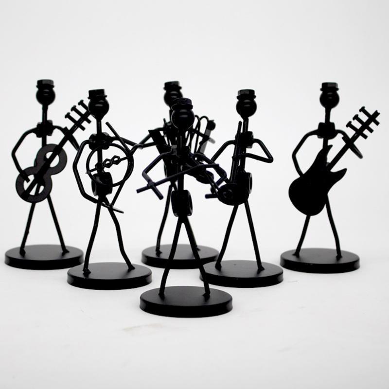1PC 미니 철 음악 밴드 모델 미니어처 음악가 인형 예술 공예 장식 파티 선물 호의 임의의 디자인