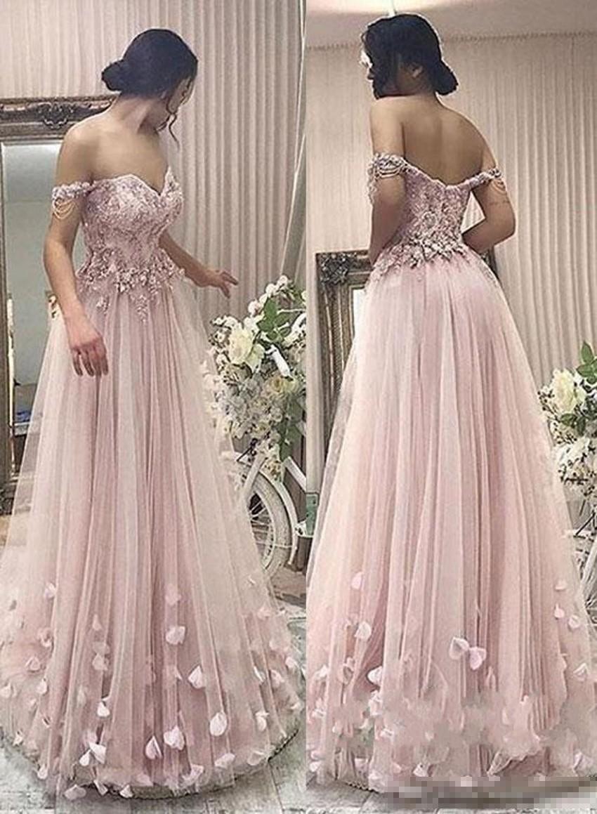 Compre 2019 Los últimos Vestidos Rosados De Fiesta De Graduación De Color Rosa Fuera Del Hombro De Encaje Con Cremallera Volver Vestidos De Fiesta
