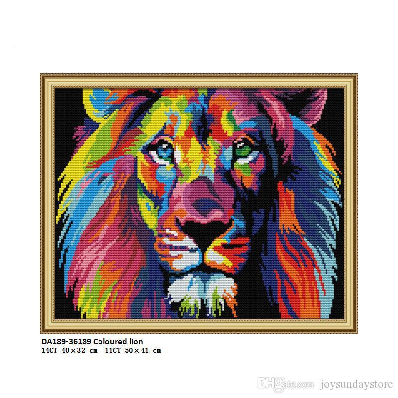 DA189 lion coloré, compté imprimé sur le tissu kits de point de croix DMC 14CT 11CT, broderie Needlework Sets Crafts Home Decor