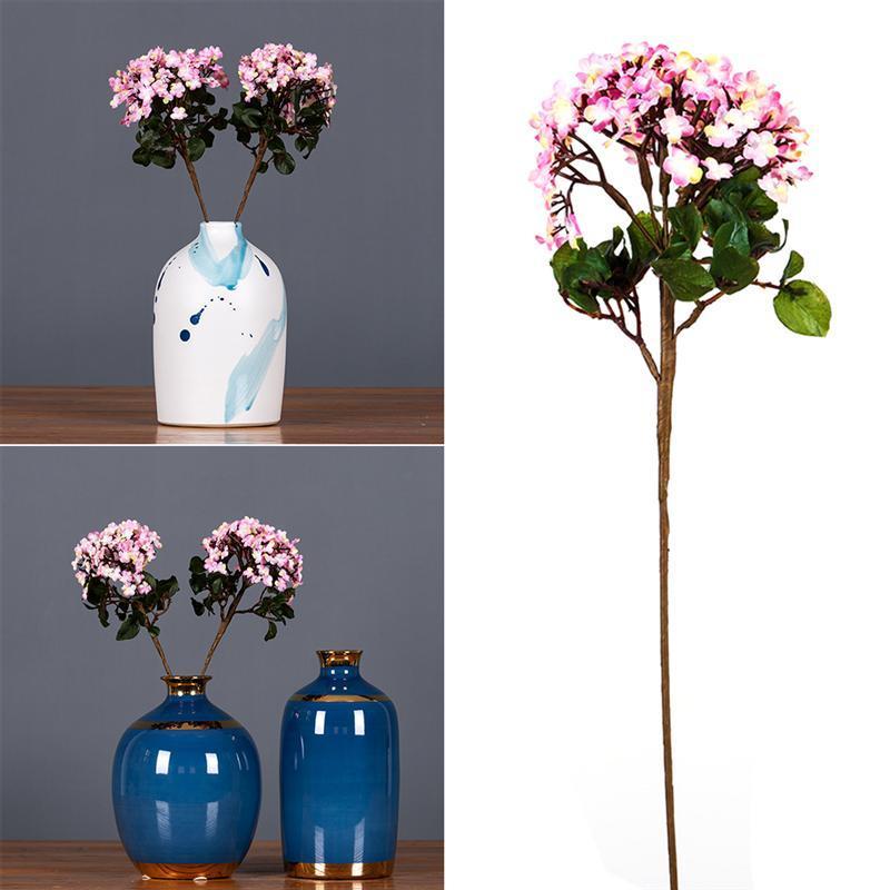 1 개 모조 수국 꽃다발 로맨틱 인공 장식 핑크 꽃 파티 웨딩 홈 장식 장식