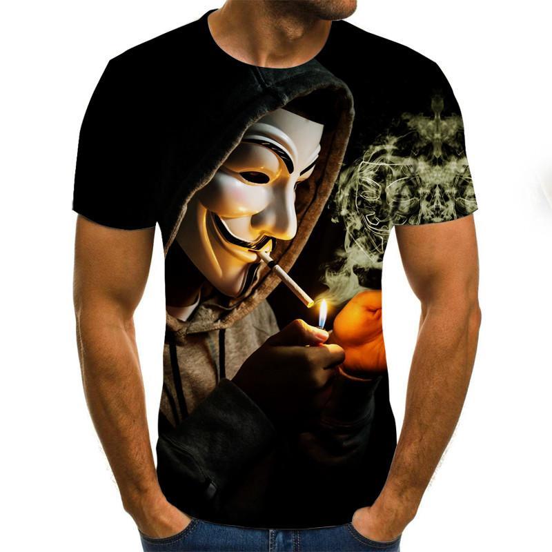 2020 새로운 남성 t- 셔츠는 광대 반소매 재미 T 셔츠 광대 3D 프린트 T 셔츠 남성 조커 얼굴 티 탑 3D