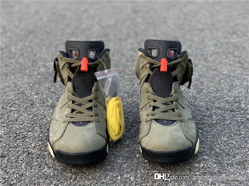 Authentische Travis Scott x Air 6 Cactus Jack Medium Olive GLOW IN THE DARK Armee-Grün Suede 3M Retro Mann-Basketball-Schuhe CN1084-200 mit dem Kasten