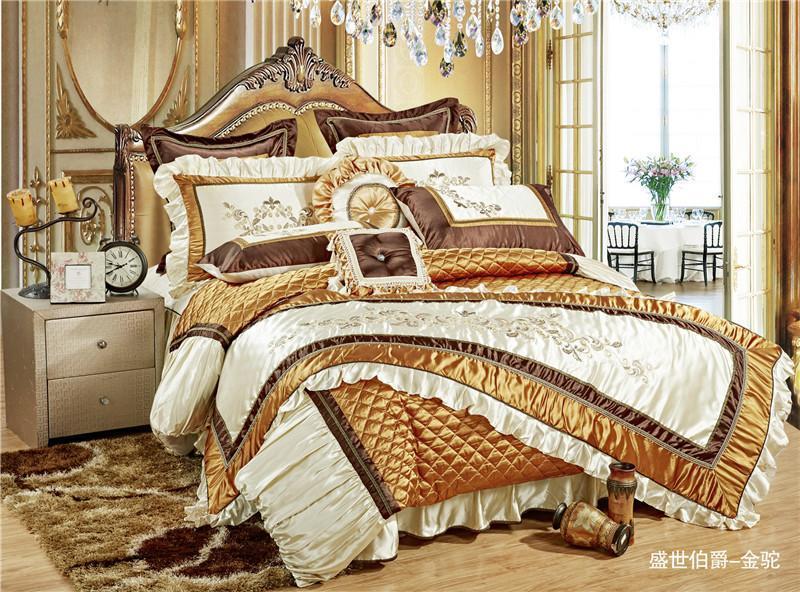 11pc Silk Cotton Royal постельного набор Golden Queen / King Size Для Wedding Bed пододеяльник Покрывала декоративных Juego де Cama