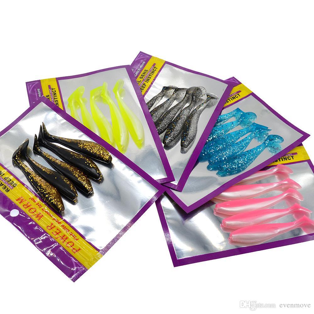 Doble color del señuelo de la pesca del cebo suave del señuelo 8.5cm / 4.5g señuelos artificiales del gusano de la cola de una sola T 5 pedazos de la bolsa
