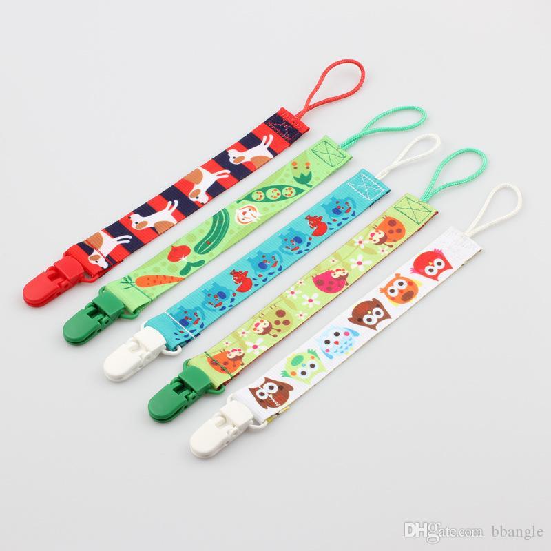 Sucette bébé Chaîne avec cordes Holder Safe Clips en plastique Tissu Dummy Sucette Titiller Porte-bébé Tétines Teething Toy Holder Bracelet