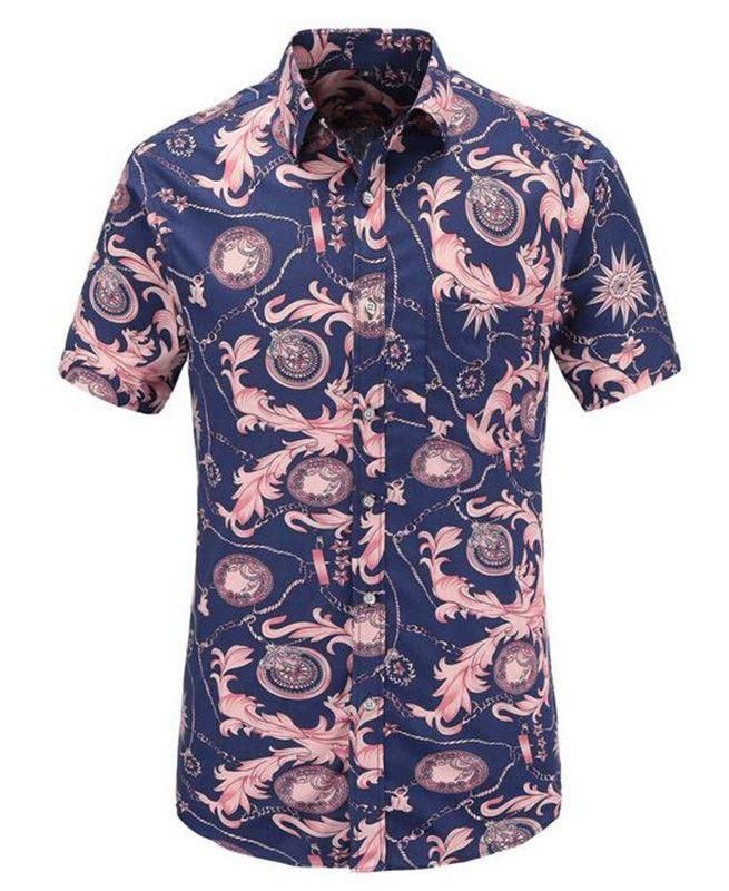 Navy Vintage Printed Summer Slim Tops Men Shirt Beach Hawaiian Men Dress Shirt Short Sleeve Print Casual US Size