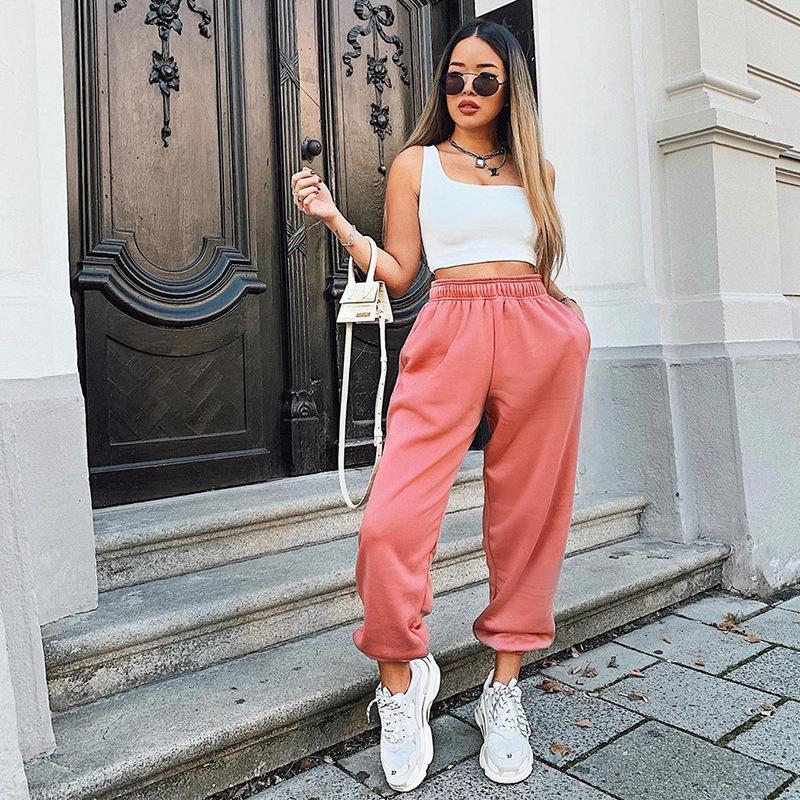 OSLLENLLA 캔디 컬러 핑크 조깅 바지 여성 높은 허리 조깅 바지 느슨한 맞춤 여성 캐주얼 하렘 바지 패션 스웨트 팬츠