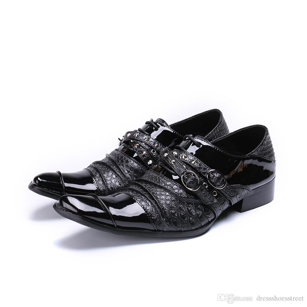 Hebilla hecha a mano Correa Oxfords Monk zapatos de fiesta masculinos paty Zapatos de vestir de negocios formales Planos para hombres Zapatos de cuero de talla grande para hombres
