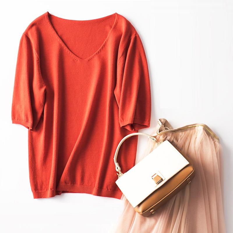 Womens Sweaters Knitting Autumn Spring V-neck Short Sleeve Solid Soft Casual Woman Pullovers Sweater Female Tops S-XL LS005