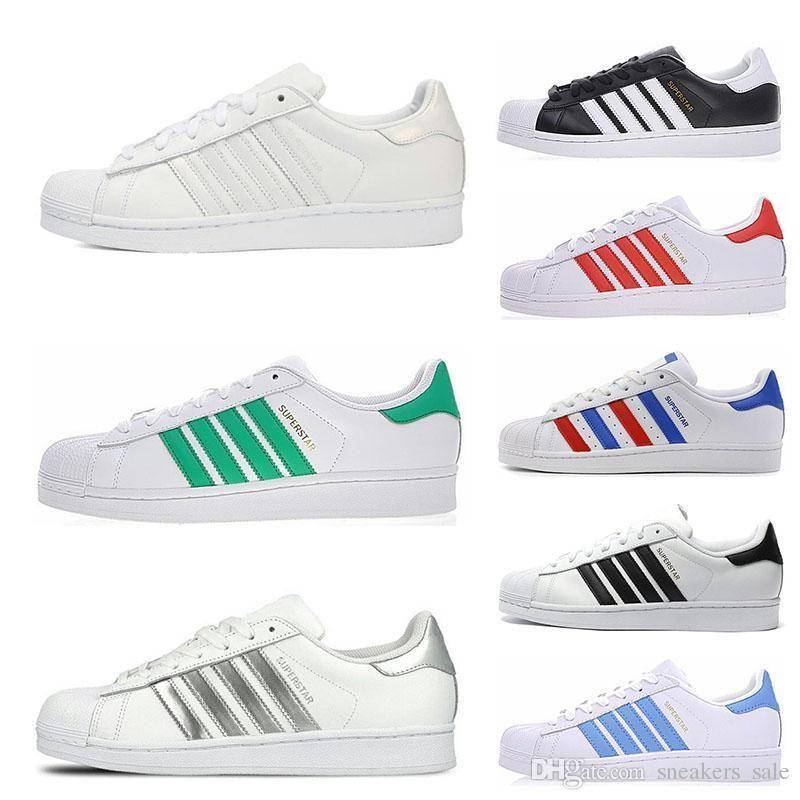 Superstars Mode Blanc Noir Rouge Bleu Or Superstars Années 80 Fierté Sneakers Super Stars Femmes Hommes Sport Chaussures Casual taille 36-45