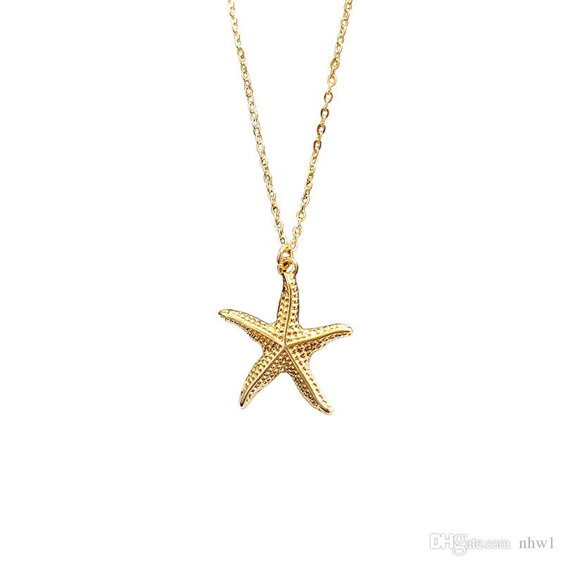 Fashion Gold Color Alloy Cowrie Shell Necklace for Women Conch Chain Pendant Necklace Summer Jewelry Starfish Collar Beach Ocean Gift