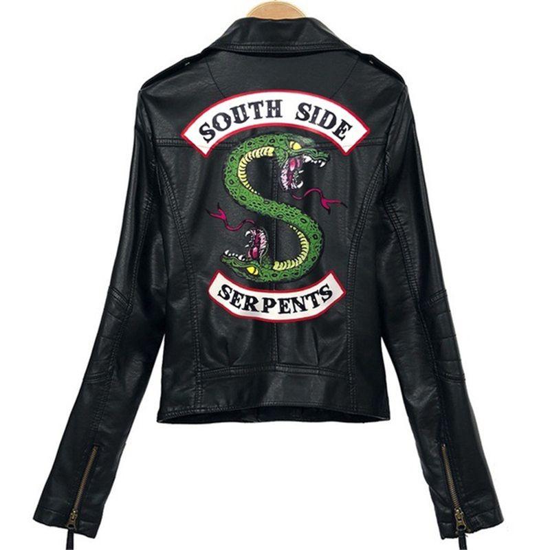 2019 Riverdale Veste dhiver en cuir PU pour femme Veste de moto courte Southside Serpents en cuir artificiel Manteau de moto Taille S Rouge